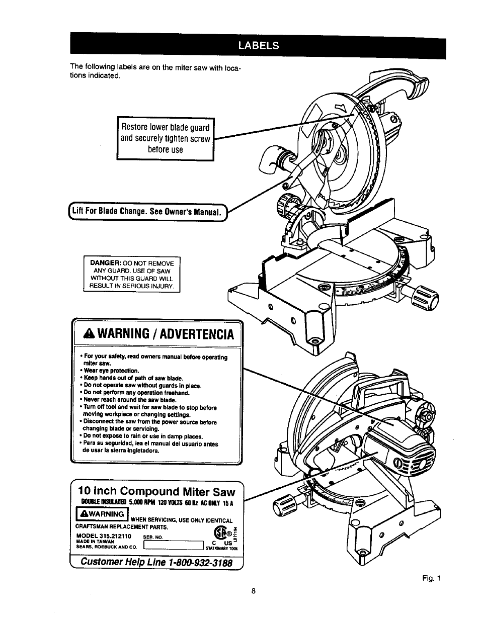 10 inch compound miter saw craftsman 315 212110 user manual page rh manualsdir com Craftsman 10 Inch Miter Saw Craftsman 10 Inch Compound Miter Saw Parts