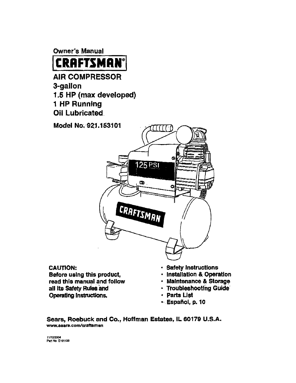 Craftsman Page on Air Compressor Wiring Diagram