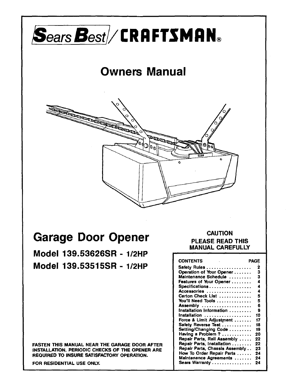 Sears 139 53660srt1 Garage Door Opener Parts Manual Guide