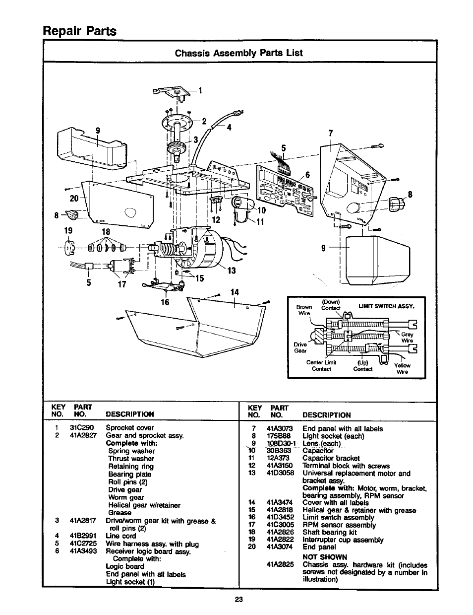 Chassis Assembly Parts List  Repair Parts