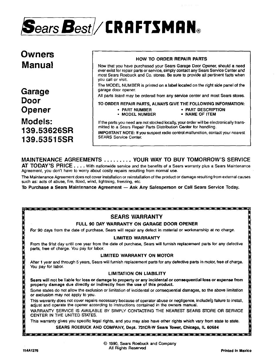 Sears Besf Crbftsmrn Sears Warranty Owners Manual