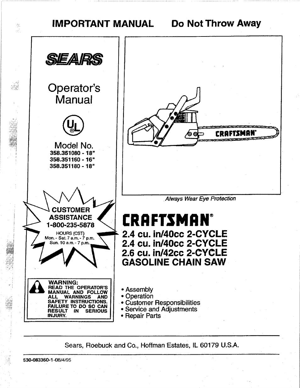 Craftsman 358 351080 User Manual
