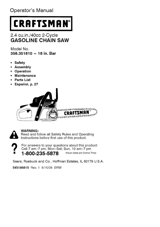 Craftsman 358 351810 User Manual