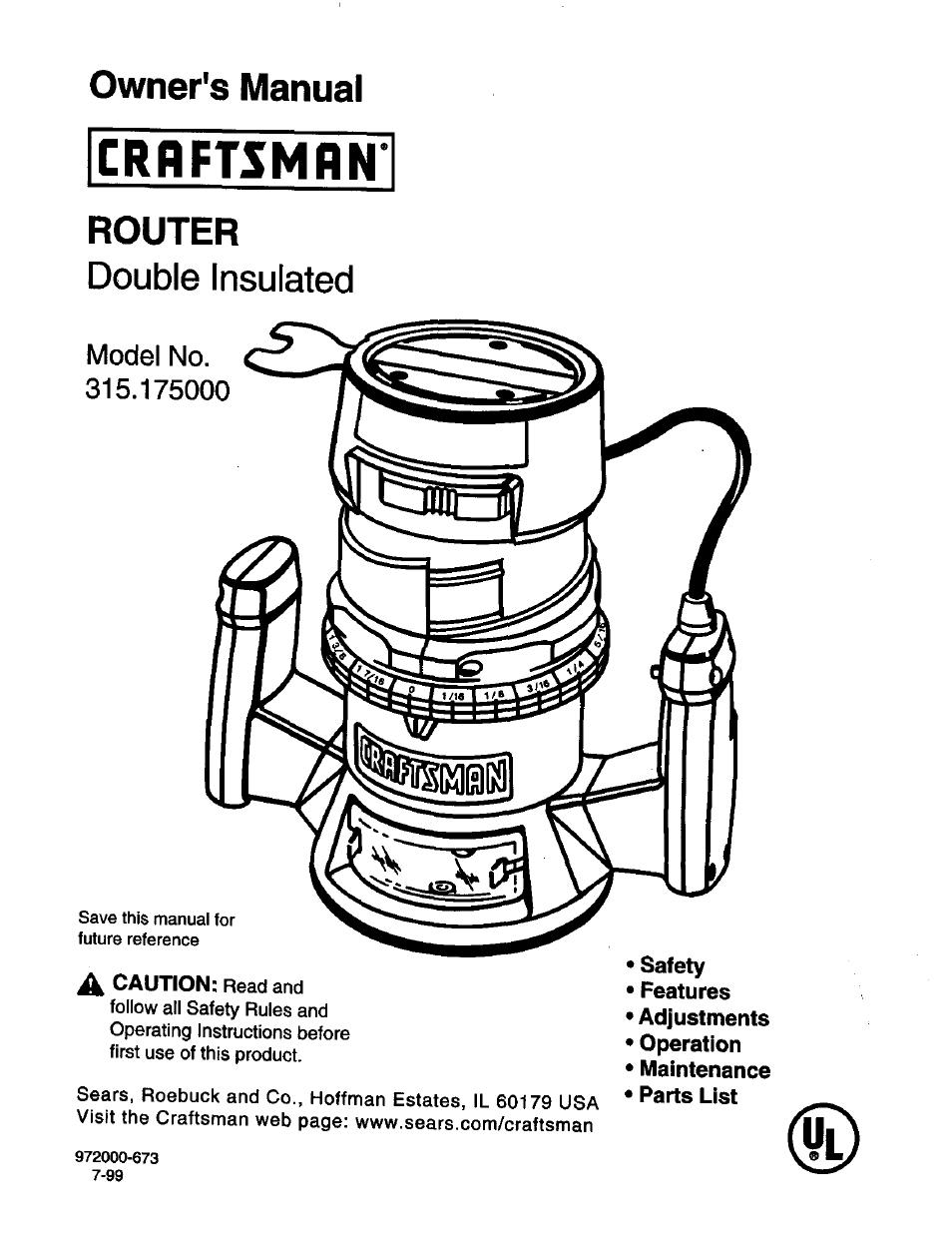 craftsman 315 175000 user manual 20 pages rh manualsdir com Craftsman Professional Router Table Manual 25444 Craftsman Router Table Manual