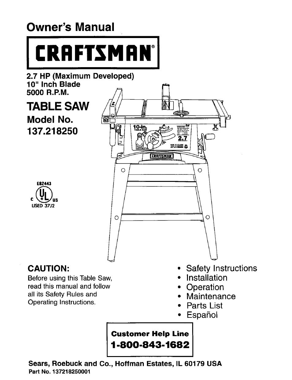 Craftsman 137 218250 User Manual | 36 pages