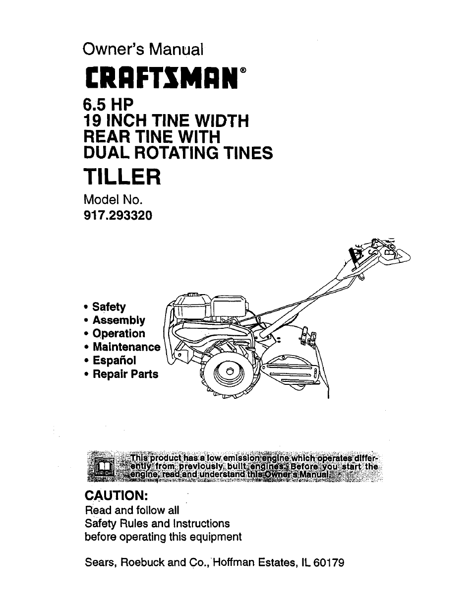 Craftsman 917. 293320 user manual | 36 pages.