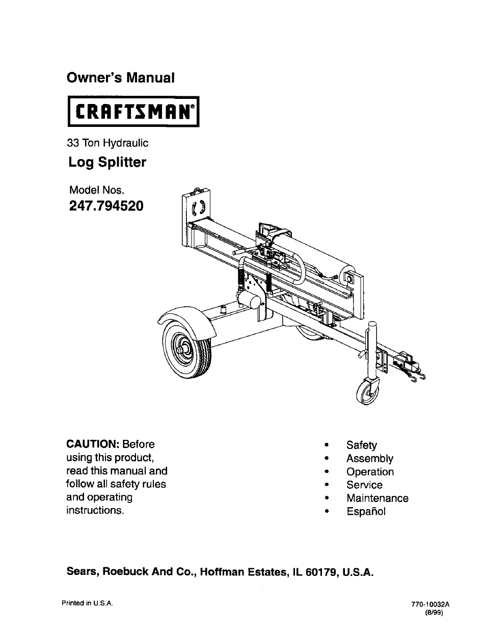 craftsman 247 79452 user manual 27 pages rh manualsdir com MTD Log Splitter Parts MTD Log Splitter Parts