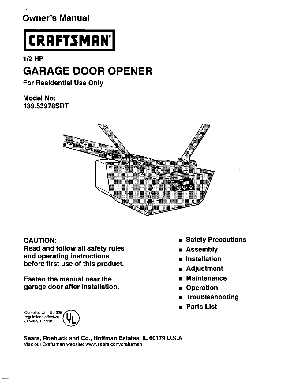 Craftsman 1 2 Hp Garage Door Opener 139 53978srt User Manual 40 Pages