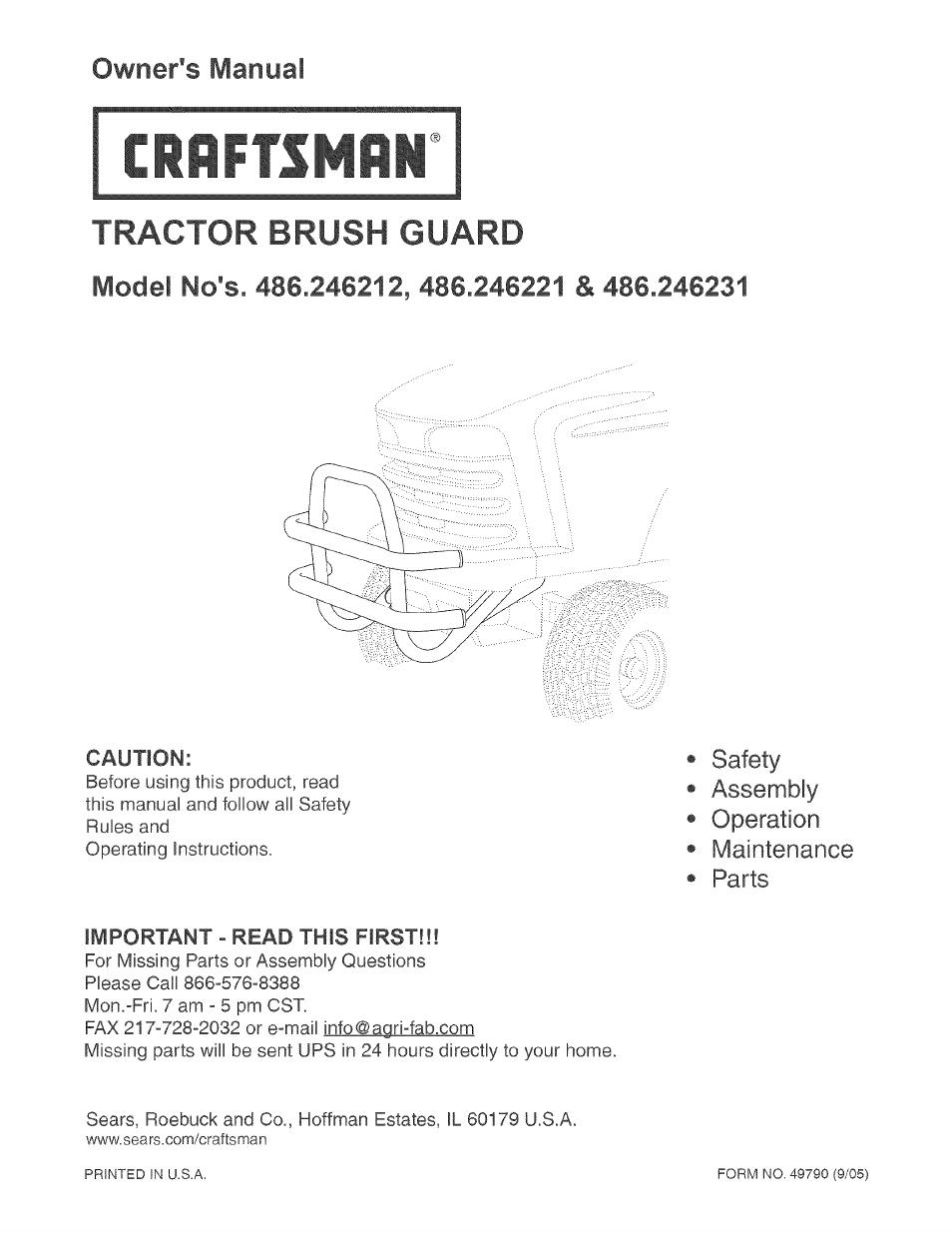 craftsman 486 246212 user manual 8 pages rh manualsdir com Craftsman Snow Thrower Manual Craftsman Lawn Tractor Manual