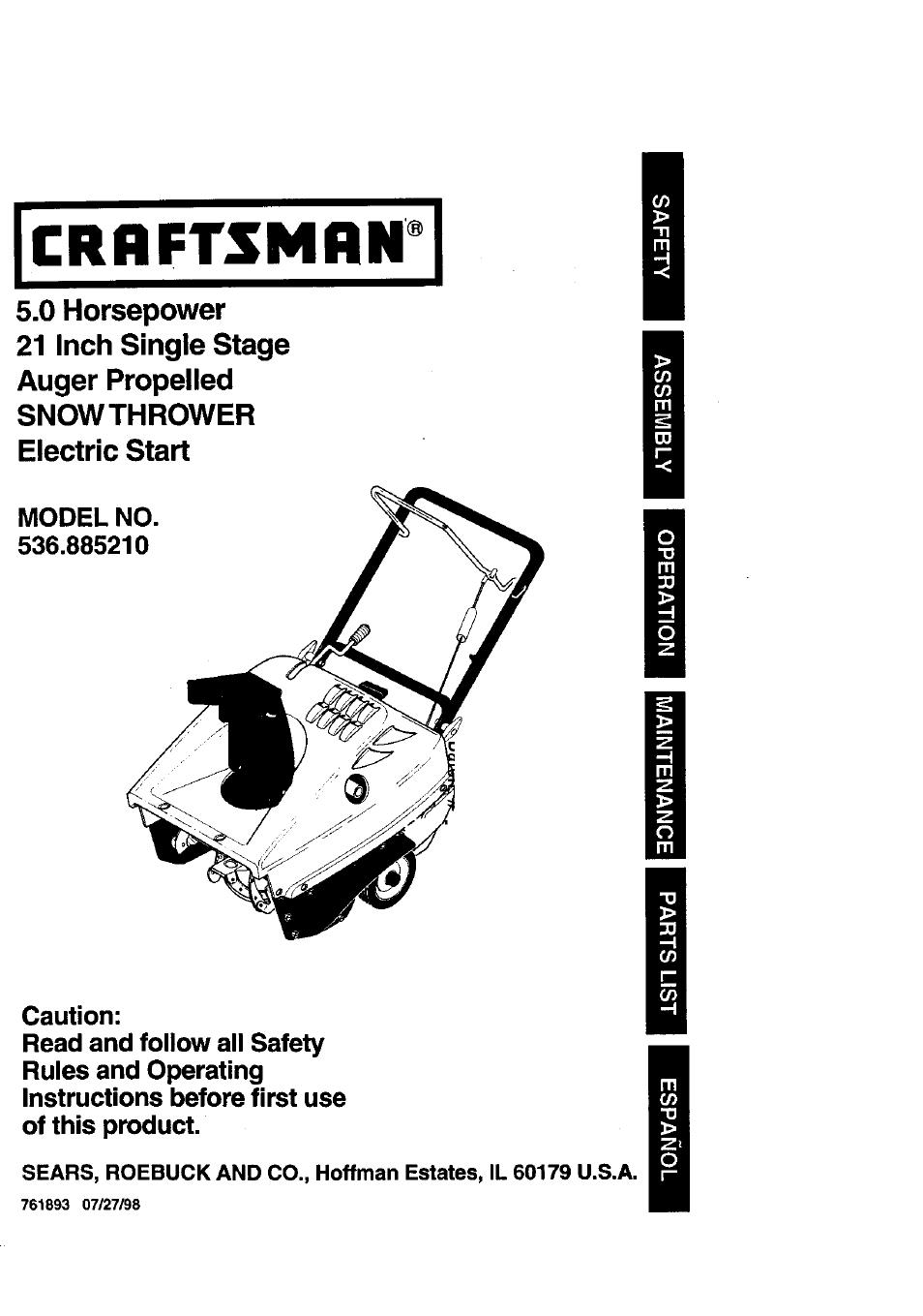 craftsman 536 885210 user manual