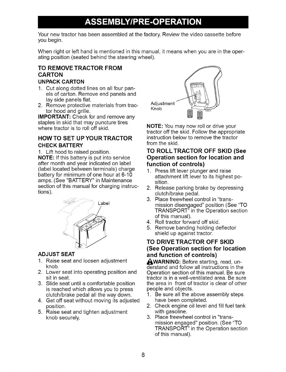 Craftsman Dyt 4000 Manual : Assembly pre operation unpack carton adjust seat