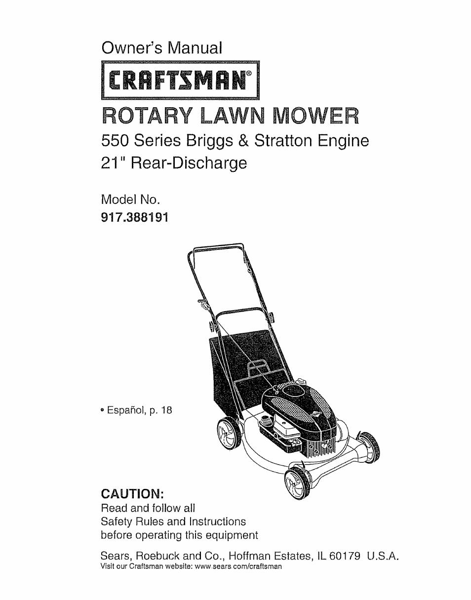 craftsman 917 388191 user manual 44 pages rh manualsdir com Craftsman 550  Series Briggs Stratton Craftsman 550 Series 158Cc