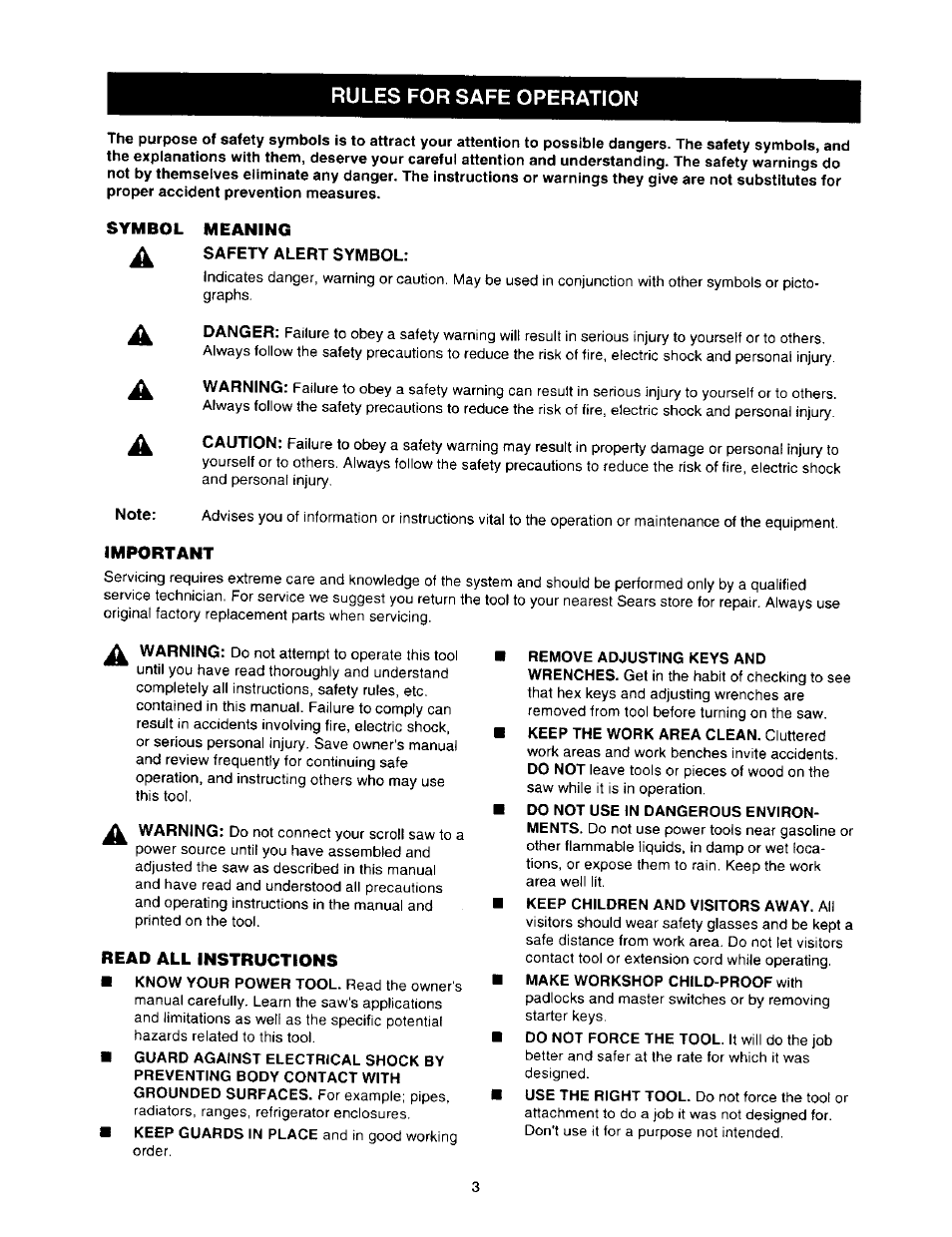 Rules For Safe Operation Symbol Meaning Important Craftsman