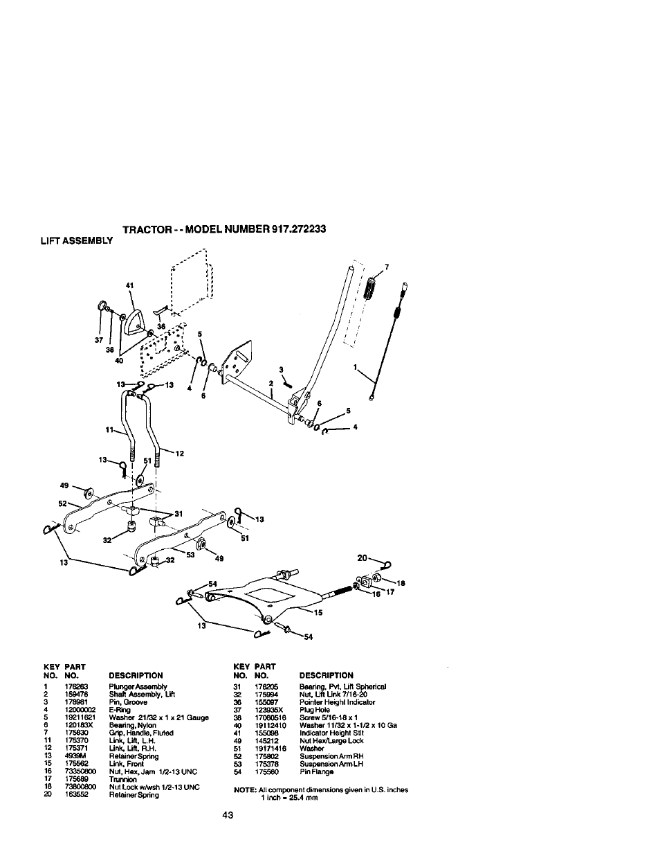 lift assembly craftsman 917 272233 user manual page 43 60 Spring Words