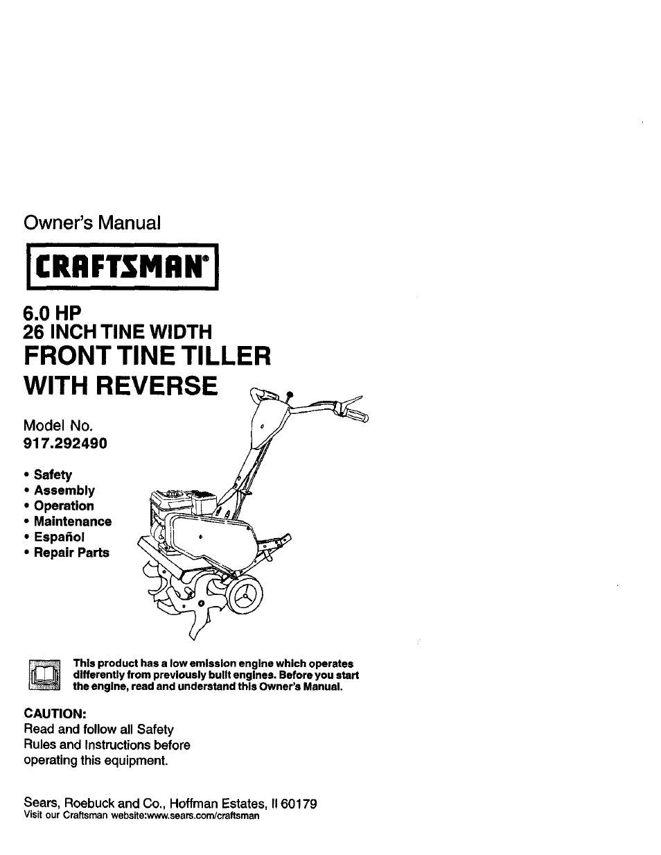Craftsman 917 292490 User Manual 33 Pages Rh Manuair Com Rear Tine Tiller Repair Rototiller 785 295060