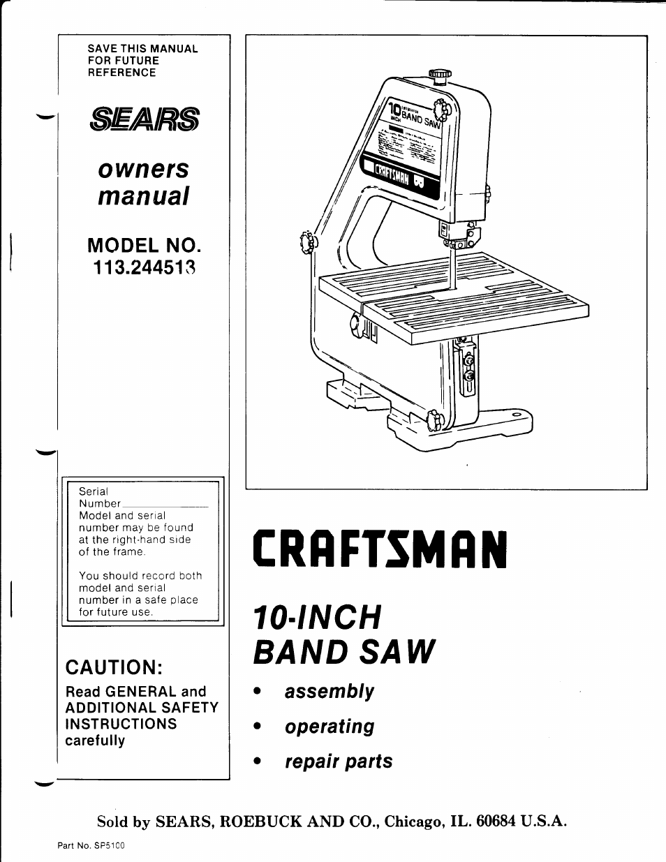 Craftsman 113 244513 User Manual 20 Pages