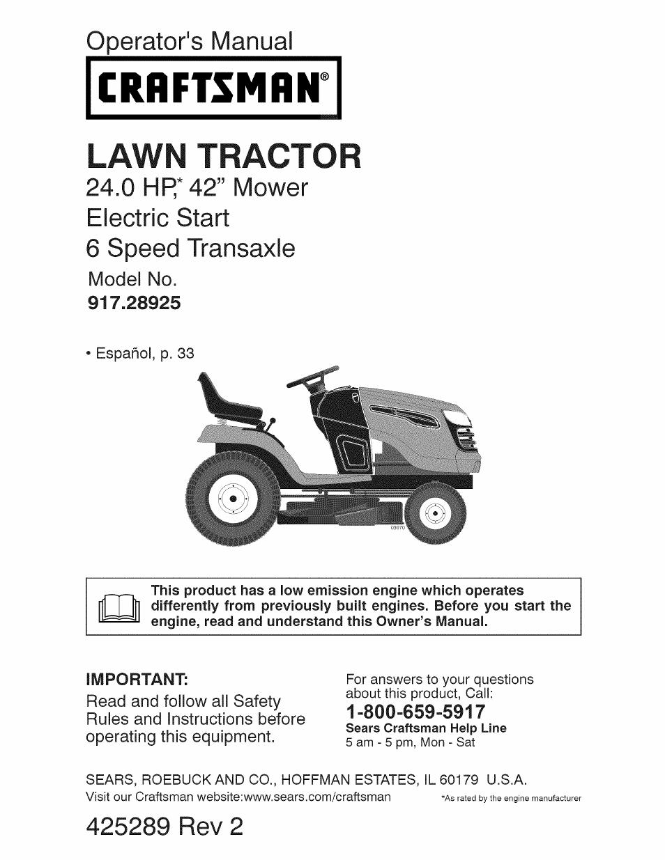craftsman 917 28925 user manual 64 pages rh manualsdir com Craftsman LT2000 Riding Mower Parts craftsman electric lawn mower manual