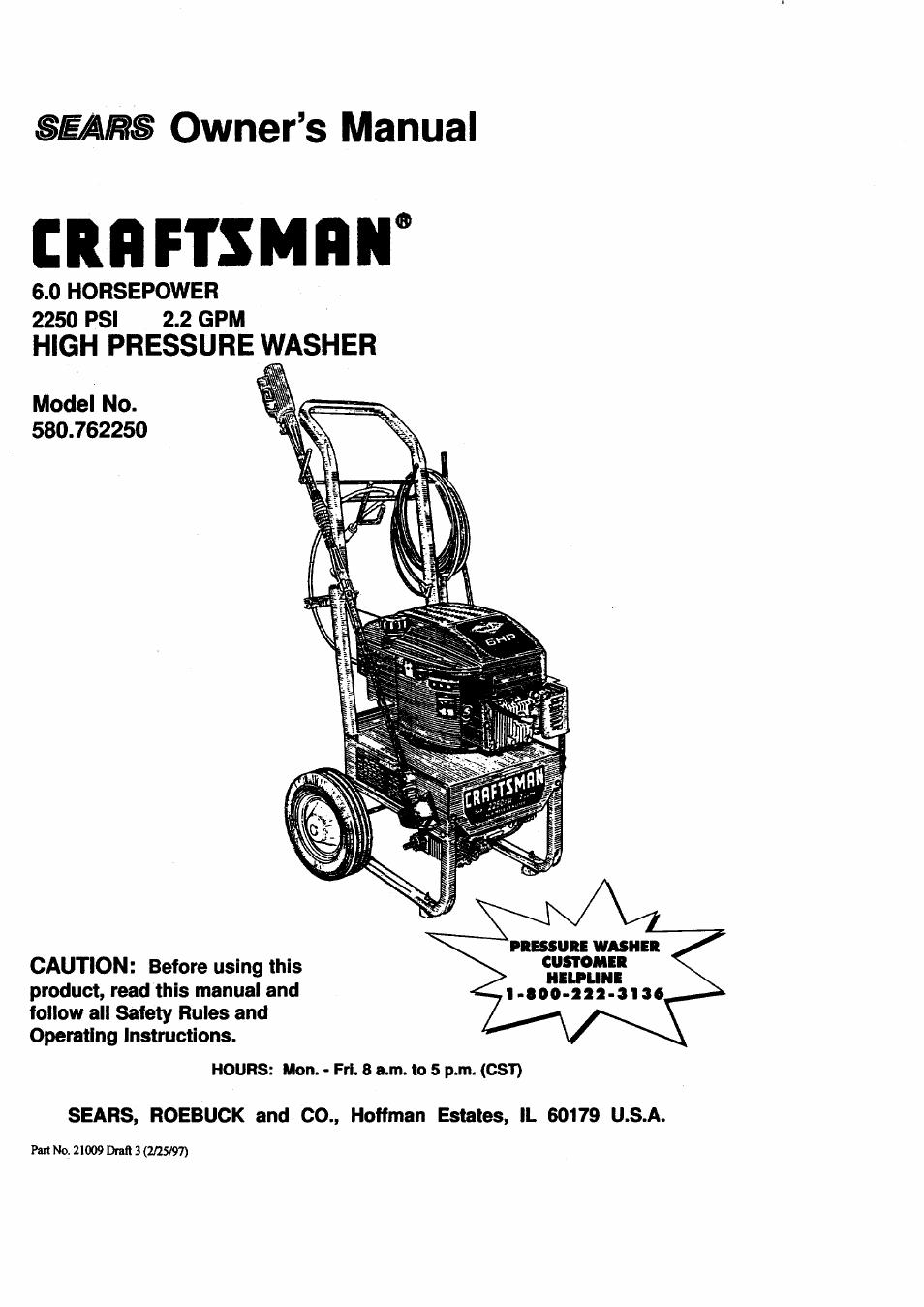 craftsman pressure washer manual 580