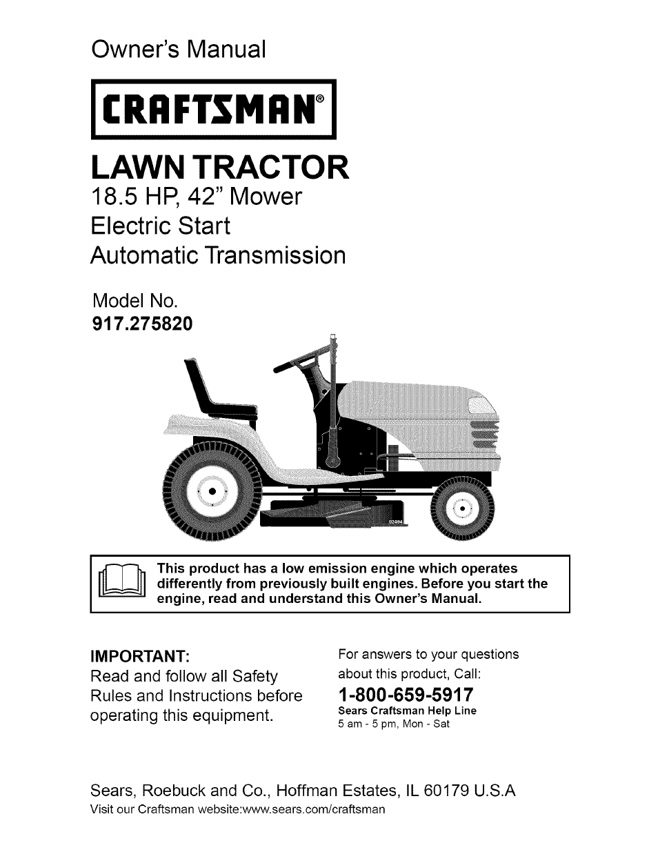 craftsman dlt 3000 917 275820 user manual 56 pages rh manualsdir com craftsman lawn mower model 944 manual craftsman snowblower model 944 manual