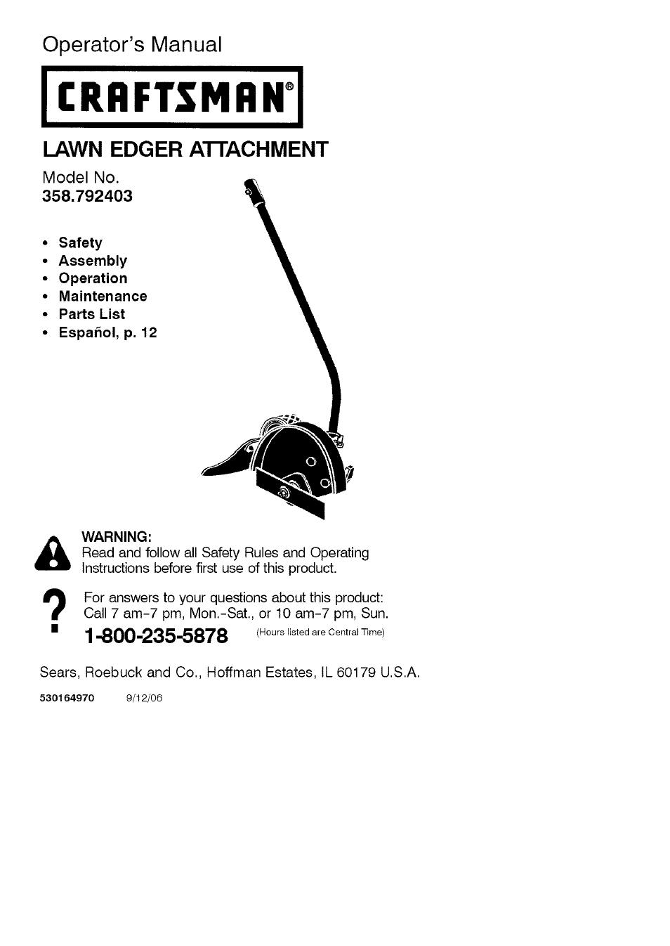 craftsman 358 792403 user manual 21 pages rh manualsdir com Craftsman Weed Wacker Attachments Craftsman Edger Attachment Parts