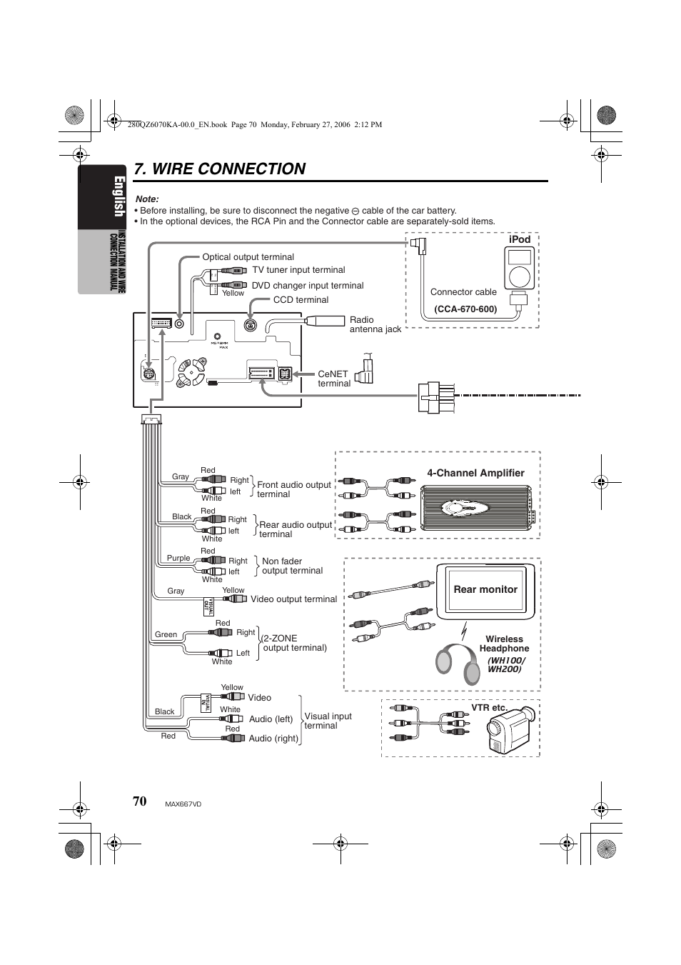 Wire Connection English Clarion Max667vd User Manual Page 70 75 16 Pin Wiring Diagram