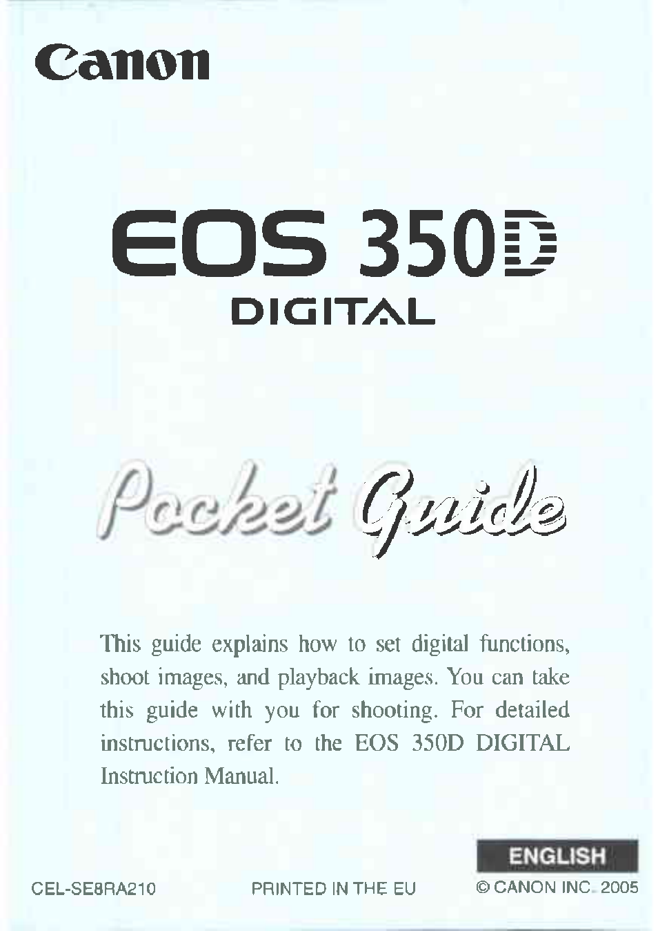 Canon EOS 350D User Manual   16 pages