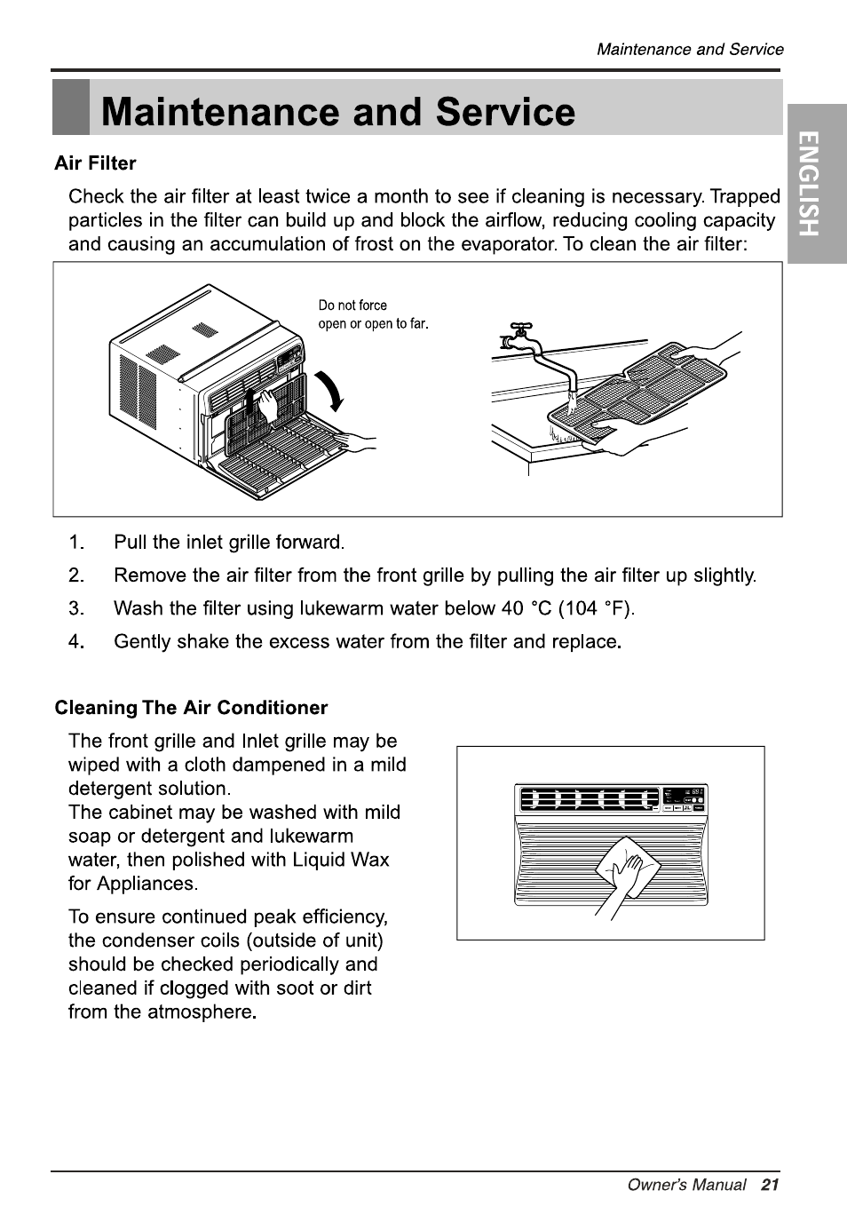 Maintenance and service, Air filter, Cleaning the air conditioner   LG  LW1010ER User Manual   Page 21 / 52