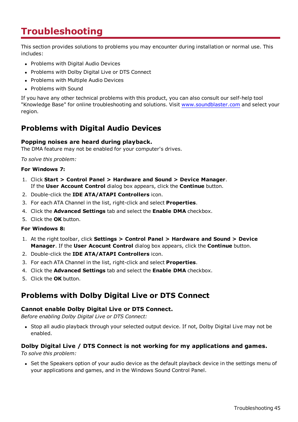Troubleshooting, Problems with digital audio devices