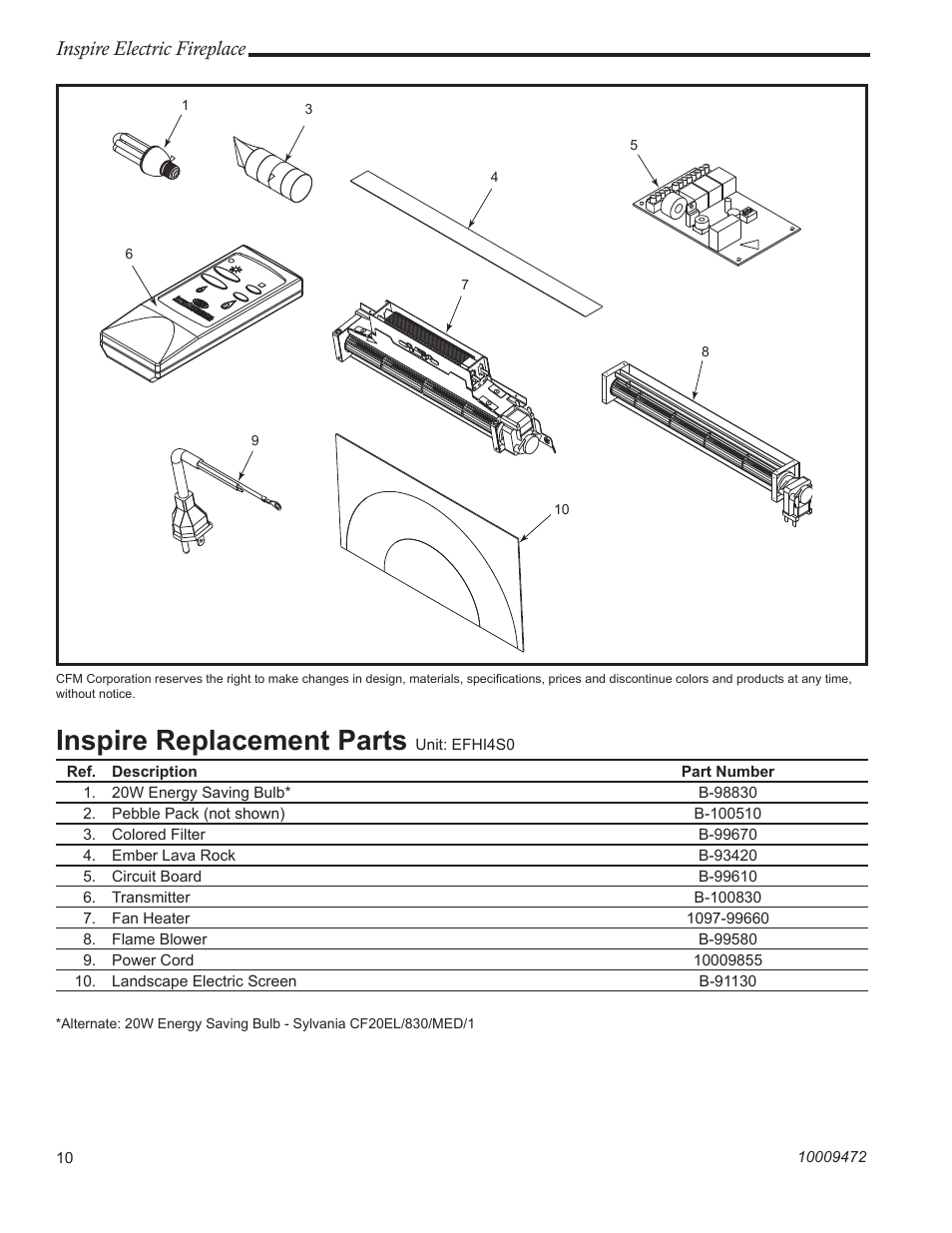 Cfm Corporation Fireplace Replacement Parts