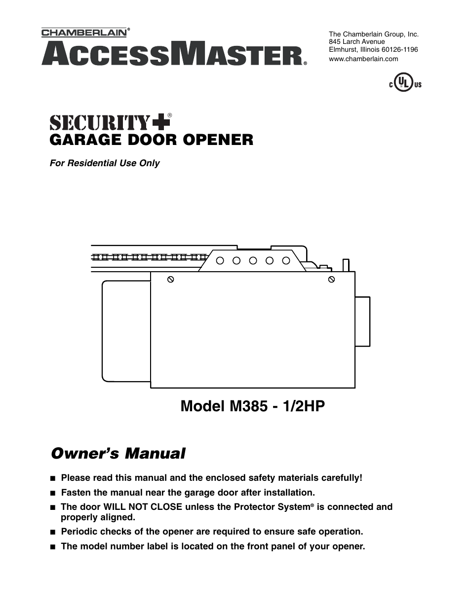 Chamberlain Garage Door Opener Manual Schematic