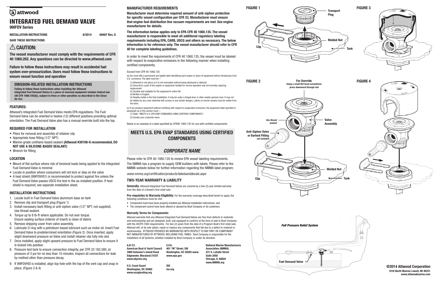 Attwood Integrated Fuel Demand Valve User Manual | 1 page