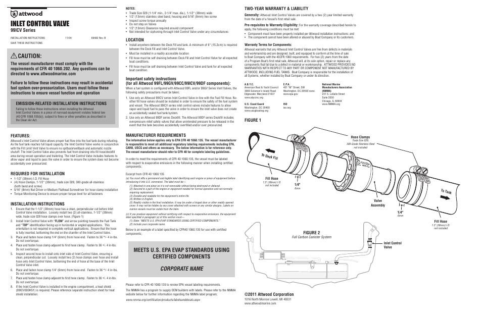 Attwood Inlet Control Valve User Manual 1 Page border=