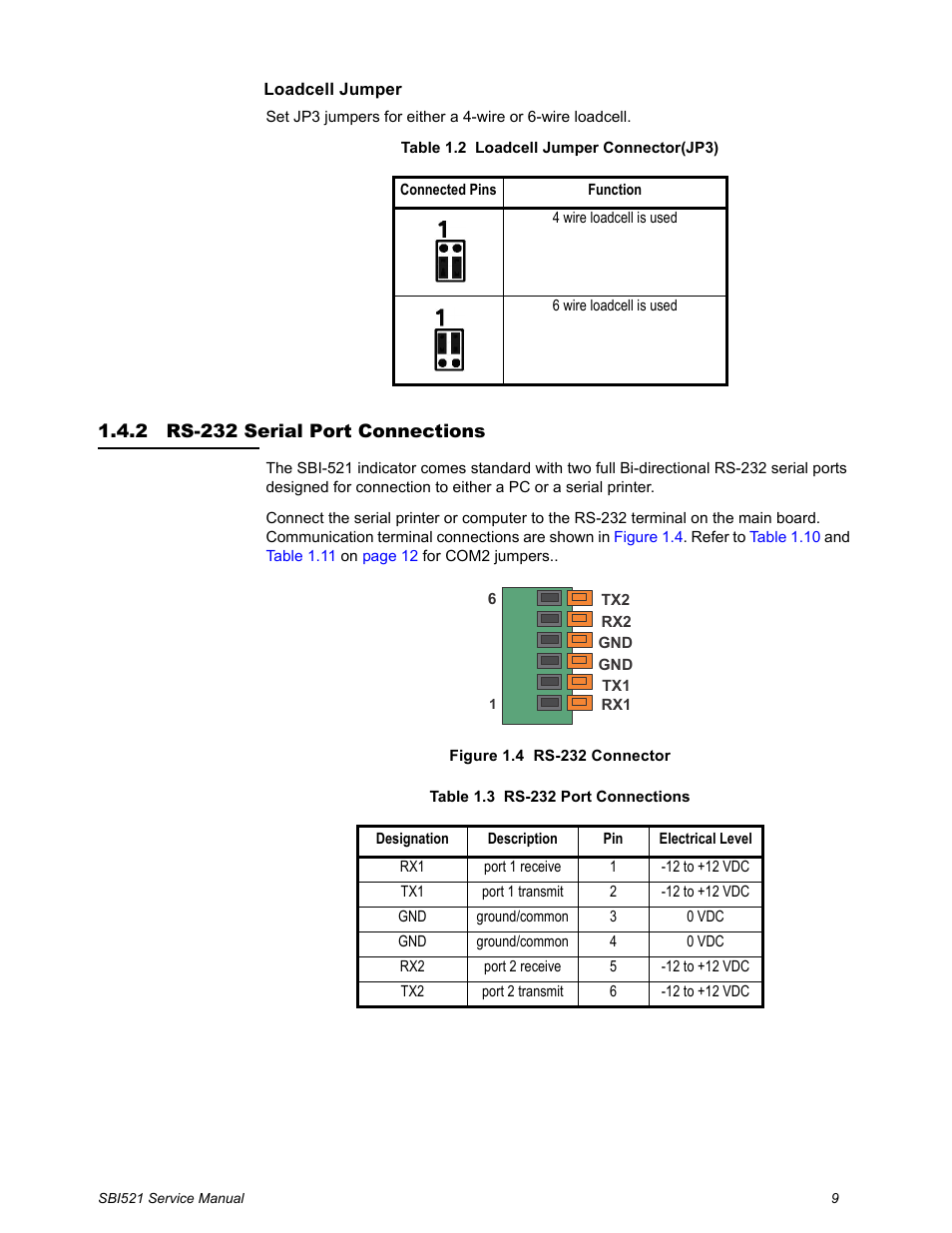 2 Rs 232 Serial Port Connections 4 Wire Load Cell Wiring Salter Brecknell Wb 521 Series User Manual Page 11 82