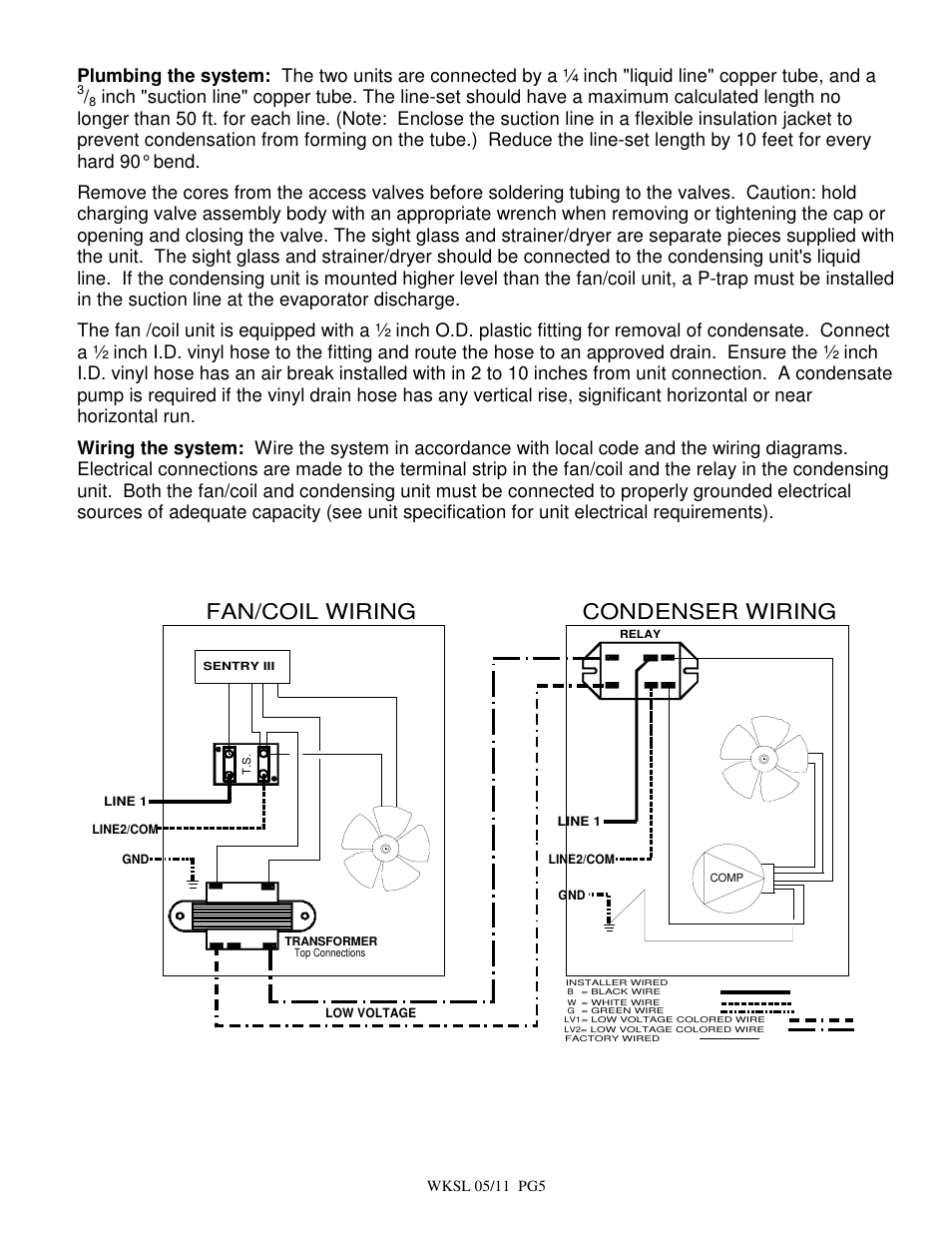 Fan/coil wiring condenser wiring | BREEZAIRE WKSL2200 User Manual | Page 5  / 8