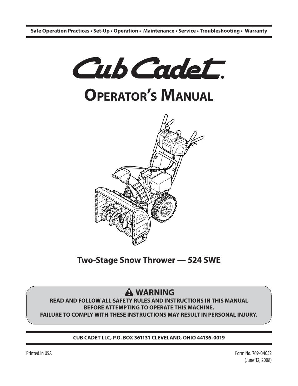Cub cadet 524 swe snow thrower operator's manual $9. 95 | picclick.