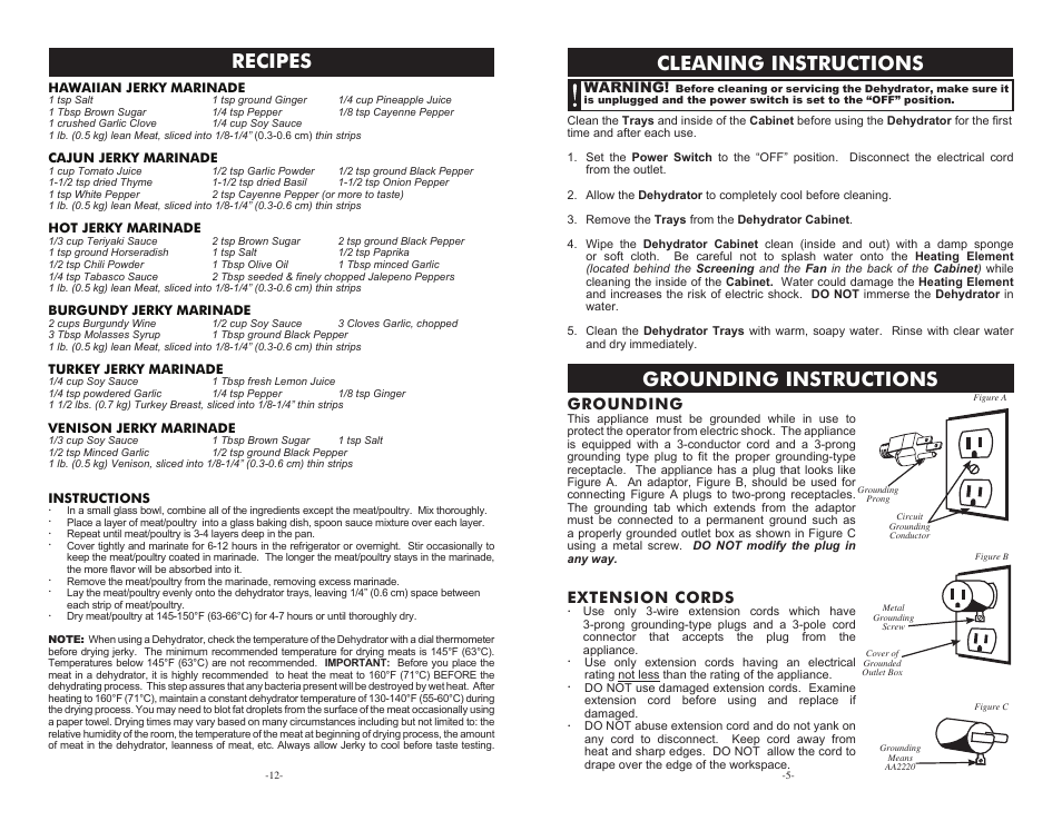 Cleaning Instructions Grounding Instructions Recipes Grounding Cabela S Heavy Duty Dehydrator 75 0201 User Manual Page 5 8 Original Mode
