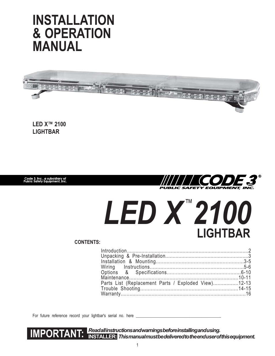 code 3 2100 page1 code 3 2100 user manual 16 pages code 3 lightbar wiring diagram at honlapkeszites.co