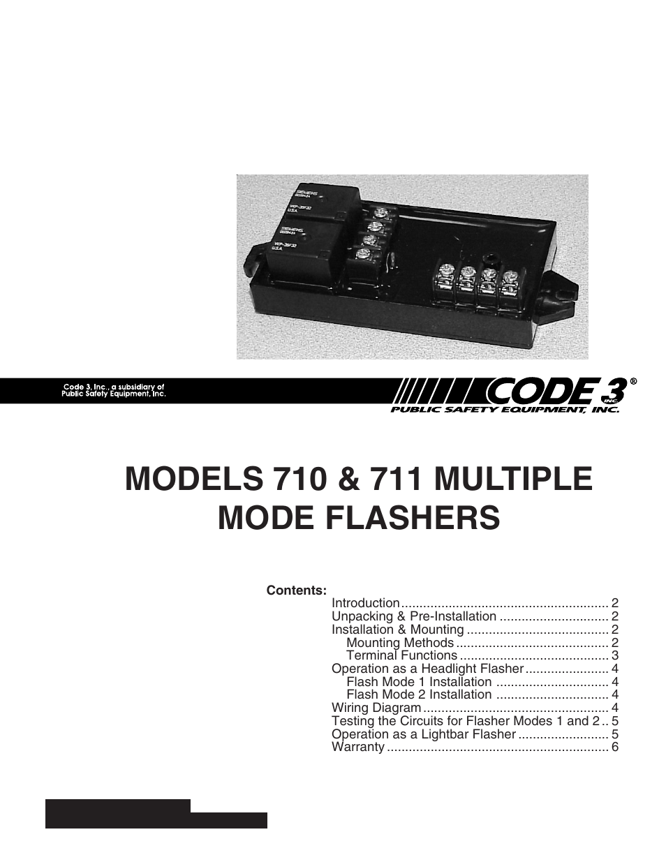 Code 3 710 And 711 Flashers User Manual