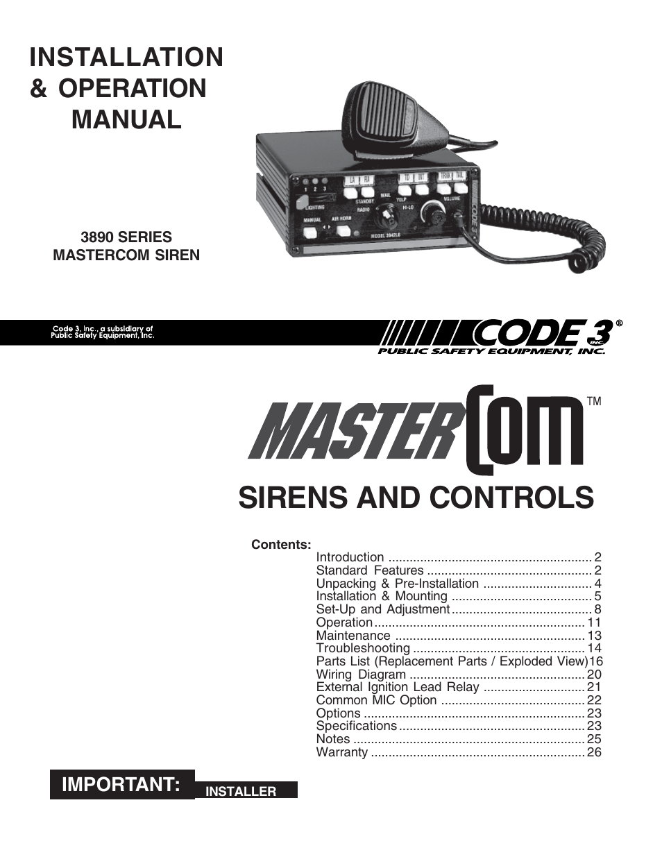 code 3 mastercom b series user manual 26 pages rh manualsdir com Fire Engine Siren Wiring-Diagram Siren Box Wiring Diagrams