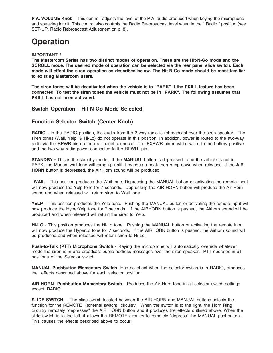 Operation | Code 3 MasterCom B Series User Manual | Page 11 / 26