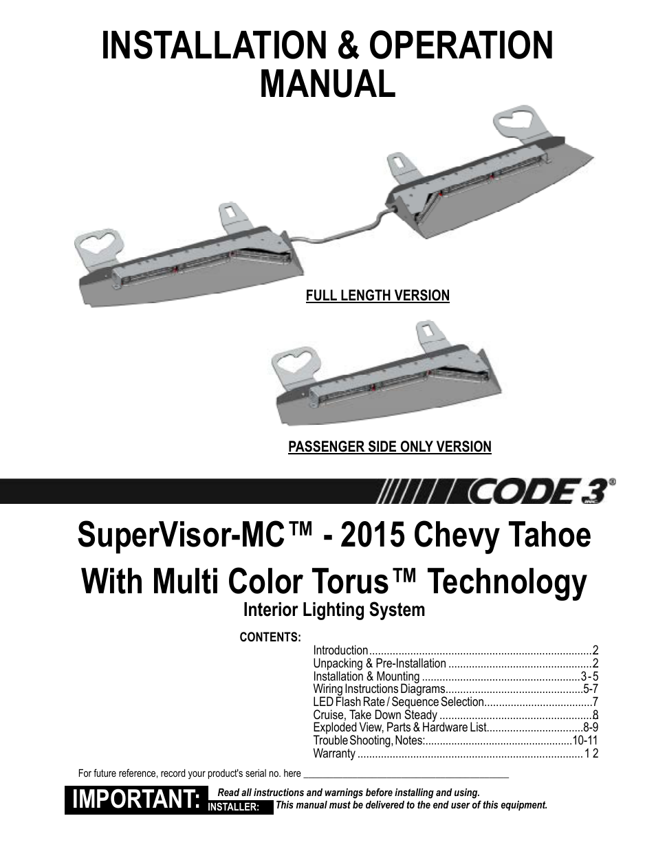 code 3 mc supervisor tahoe user manual