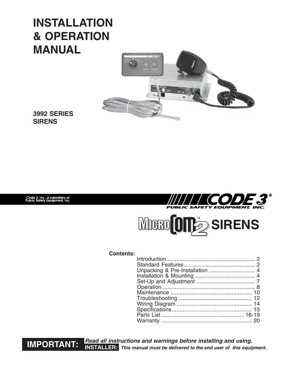 Code 3 Microcom 2 Siren User Manual 20 Pages Wiring Diagram