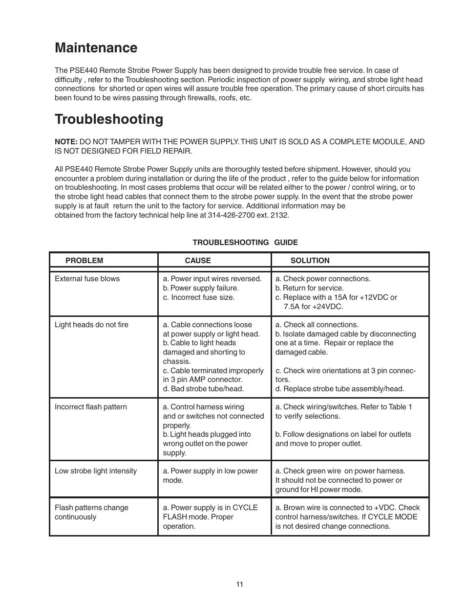 Maintenance, Troubleshooting | Code 3 PSE440 Remote Strobe