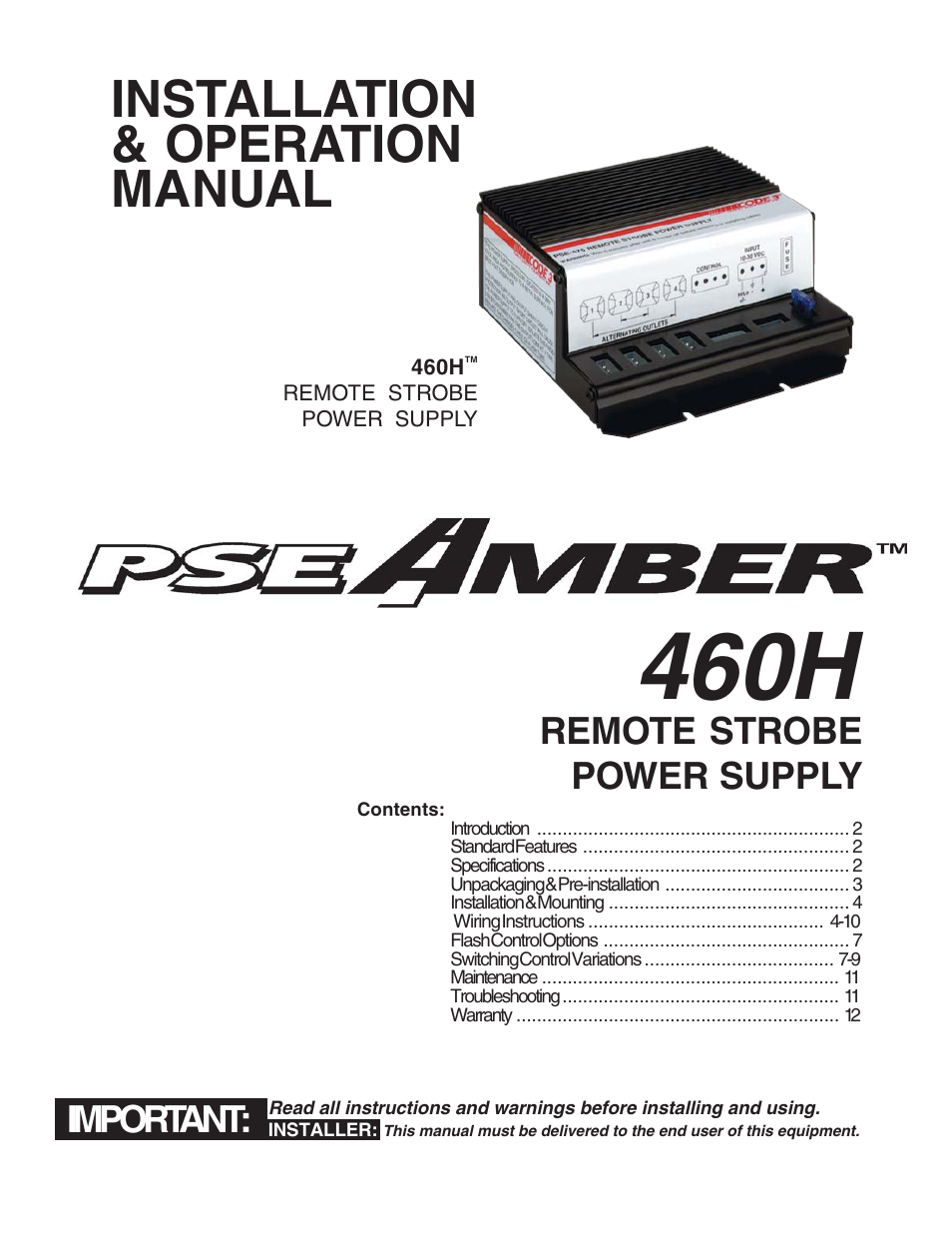 Code 3 Pse460h Remote Strobe Power Supply User Manual 12 Pages Nintendo Nes Wiring Schematic