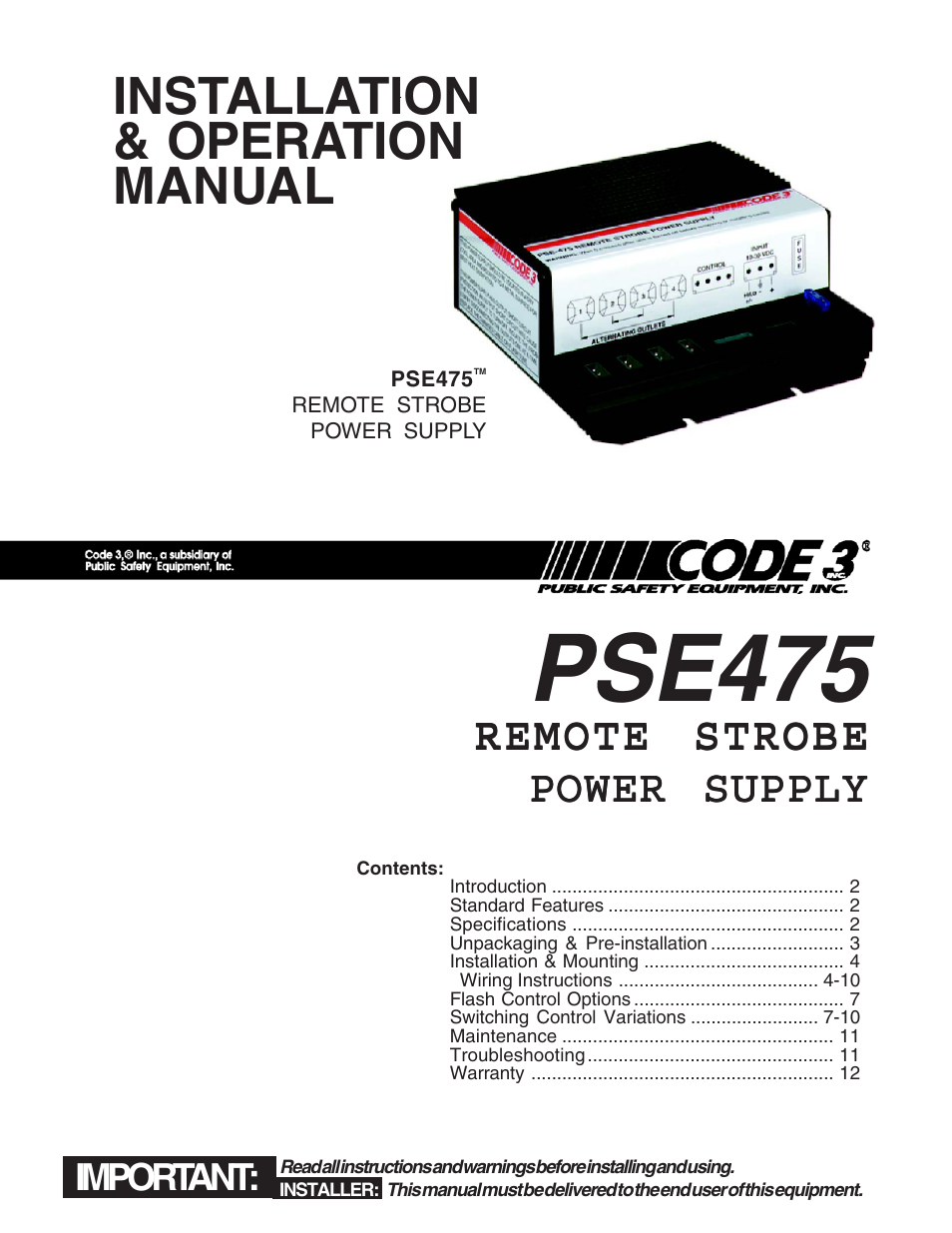 Code 3 Pse Wiring Diagram Worksheet And Light Bar Pse475 Remote Strobe Power Supply User Manual 12 Pages Rh Manualsdir Com Wire