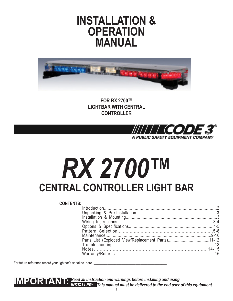 Code 3 Light Bar Wiring Diagram Detailed Schematics Switch Rx 2700cc User Manual 16 Pages 1982 S10 Tail