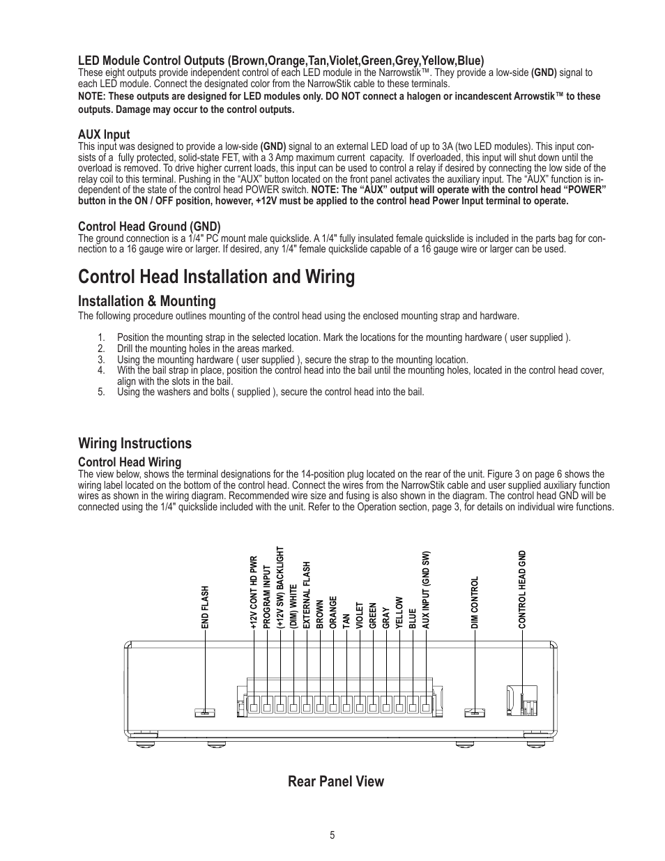 code 3 tricore narrowstik controller page5 control head installation and wiring, installation & mounting code 3 arrowstick wiring diagram at virtualis.co