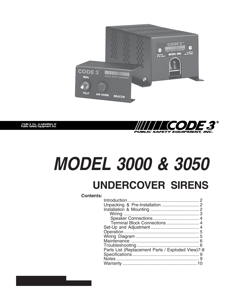 code 3 undercover siren page1 code 3 undercover siren user manual 10 pages code 3 model 3050 wiring diagram at reclaimingppi.co