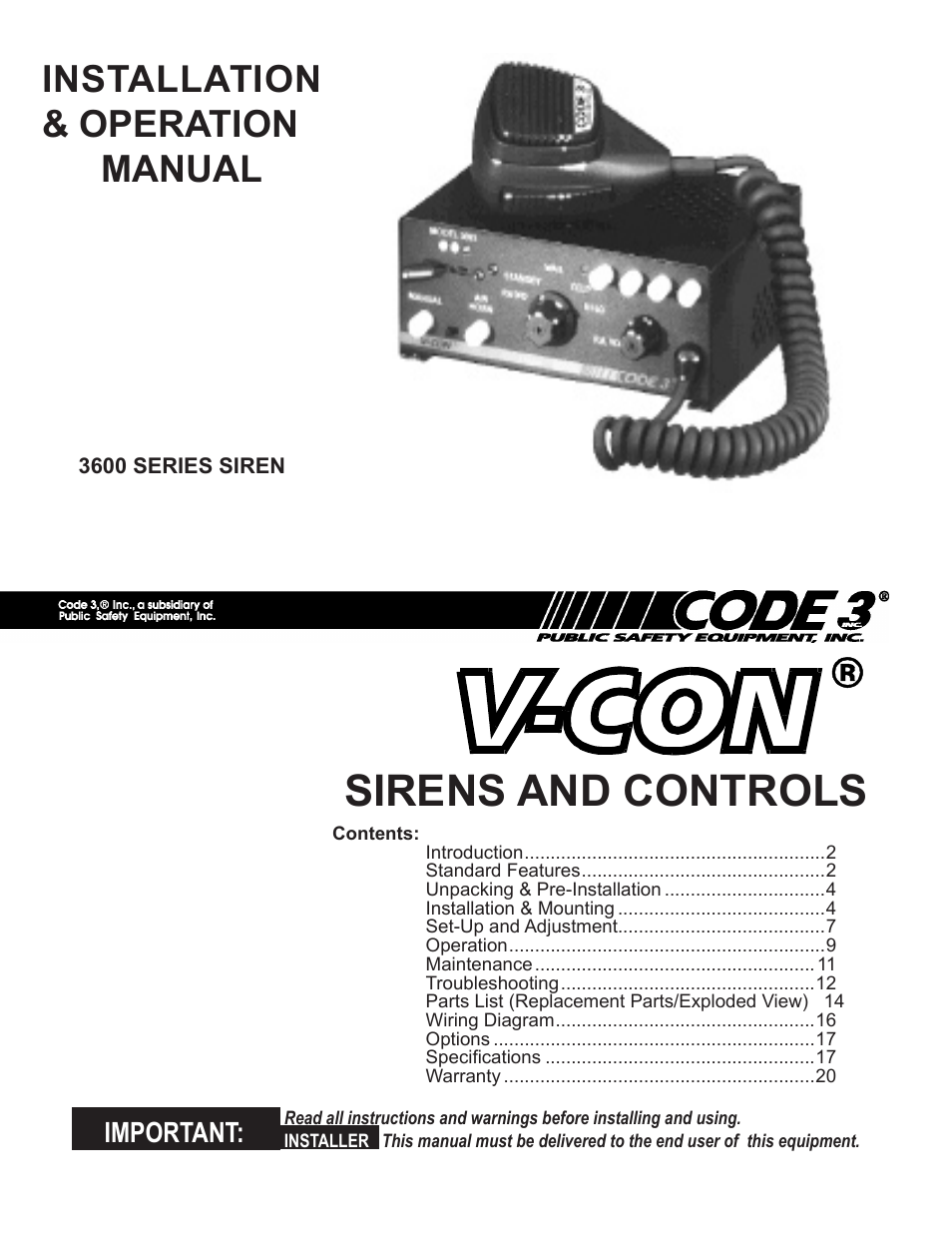 code 3 v con siren page1 code 3 v con siren user manual 20 pages code 3 siren wiring diagram at n-0.co