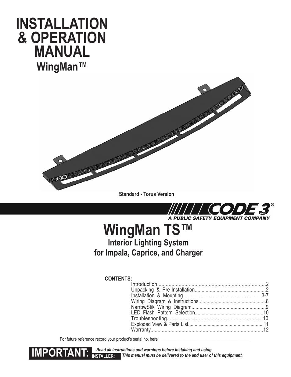 Code 3 Wingman With Torus User Manual